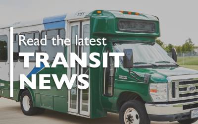 """Green DCTA bus with text overlay """"Read the Latest Transit News"""""""