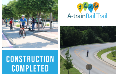 Photos of the A-train Rail Trail in a collage