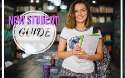 """Student holding books with text """"new student guide"""" to the left of her"""