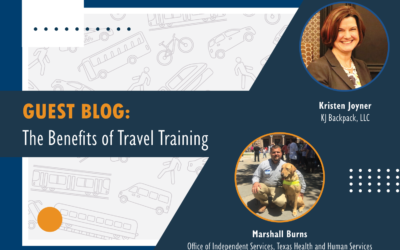 """Blog graphic: Headline reads """"Guest Blog: The benefits of travel training"""""""